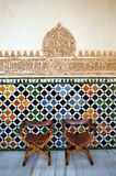 Glazed tiles, azulejos, plasterwork, Alhambra palace in Granada, Spain Royalty Free Stock Photography
