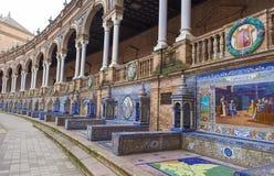 Glazed tiles bench of spanish provinces Stock Photography