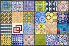 Portuguese Glazed Tiles Collage, Beautiful Old Azulejos, Portugal Street Art, Handmade, Vibrant Colors, Textures Stock Photos