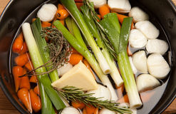 Glazed vegetables leek carrot cooking Stock Image