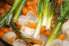 Glazed vegetables leek carrot cooking Stock Images