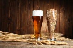 Glazen bier en zaden met aren Stock Afbeeldingen
