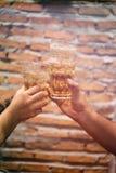 Glazen bier in handen Royalty-vrije Stock Afbeelding