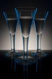 Glazen in blauw en zwart Stock Afbeelding