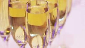 Glazen champagne stock videobeelden
