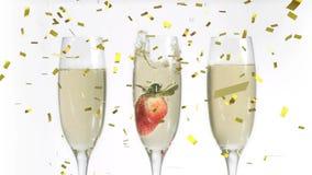 Glazen champagne en confettien stock video