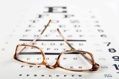 Glazen die op oogexamen zitten Stock Foto's