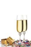 Glazen een champagne Royalty-vrije Stock Afbeeldingen