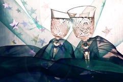 Glazen in een toost Royalty-vrije Stock Foto