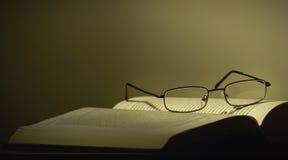 Glazen en een boek Stock Foto's