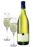 Glazen en een fles champagne. Stock Foto