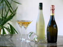 Glazen en flessen Royalty-vrije Stock Afbeeldingen