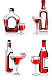 Glazen en flessen Stock Foto