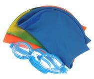 Glazen en kleurenkappen voor het zwemmen Royalty-vrije Stock Afbeelding