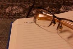 Glazen en notitieboekje Royalty-vrije Stock Foto