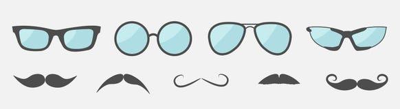 Glazen en van snorsnorren pictogram vastgestelde lijn Zonnebrilinzameling Vlakke desig Ge?soleerde Witte achtergrond royalty-vrije illustratie