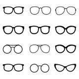 Glazen en zonnebril vectorreeks Stock Afbeeldingen