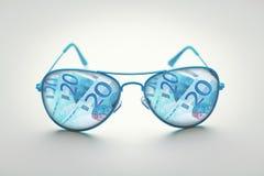 Glazen euro bankbiljetten Stock Afbeelding