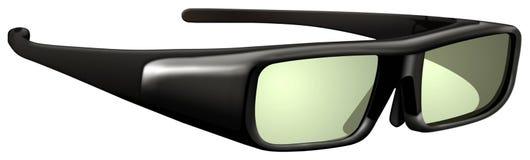 Glazen met actieve blind 3D technologie voor HDTV royalty-vrije illustratie