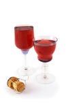 Glazen met champagnecork en rode wijn royalty-vrije stock foto