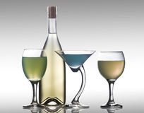 Glazen met een fles Royalty-vrije Stock Afbeelding