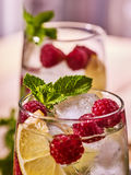 Glazen met ijsblokjes en bessencocktail Stock Foto