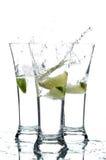 Glazen met water en kalk; Royalty-vrije Stock Fotografie