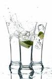 Glazen met water en kalk Royalty-vrije Stock Fotografie
