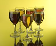 Glazen met wijn Stock Foto's
