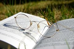 Glazen op een boek met gras stock fotografie