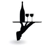 Glazen van de kelners de dragende wijn op het dienblad zwarte silhouet Royalty-vrije Stock Afbeelding