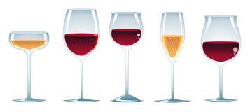 Glazen wijn Stock Afbeeldingen