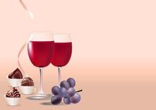 Glazen wijn, druif en snoepjes Stock Afbeeldingen