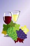 Glazen wijn en druiven Stock Afbeeldingen