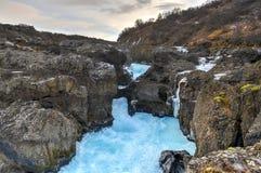 Glazial- Fluss-Pool, Barnafoss, Island lizenzfreie stockfotografie