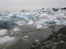 Glazial- See mit Eisbergen island stockfotografie