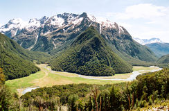 Glazial- Tal der Routeburn Spur lizenzfreie stockfotos