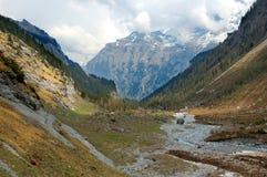 Glazial- Tal in der Schweiz Stockfotos