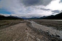 Glazial- Tal und umsponnener Fluss Lizenzfreie Stockfotografie