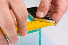 Glazier measuring glass Stock Photos