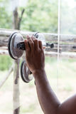 Glazier. Work installing glass in site construction royalty free stock photo