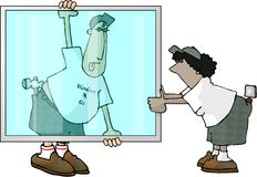 Glaziers. This illustration that I created depicts 2 people carrying a large window panel Stock Images
