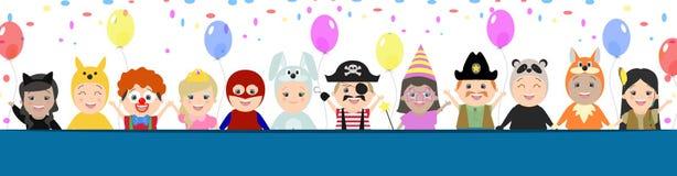 GLB-achtergrond voor een feestelijk ontwerp Kinderen in Carnaval-kostuum vector illustratie