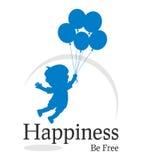 Glück ist freies Zeichen Stockfoto