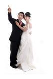 Glückliche asiatische Hochzeitspaare Stockfotos