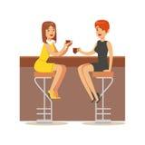 Glückliche beste Freunde, die in der Stange, Teil Freundschafts-Illustrations-Reihe aufholen Stockfoto