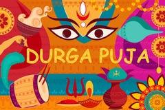 Glückliche Durga Puja-Festivalhintergrund-Kitschkunst Indien Stockfoto