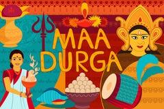 Glückliche Durga Puja-Festivalhintergrund-Kitschkunst Indien Stockbild