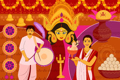 Glückliche Durga Puja-Festivalhintergrund-Kitschkunst Indien Lizenzfreies Stockfoto