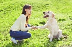 Glückliche Eigentümerfrau mit labrador retriever-Hundezügen Stockbilder